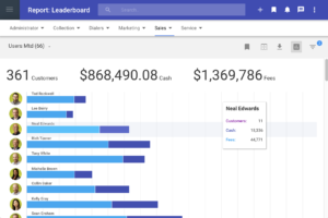 Ledger screenshot of sales Leaderboard displaying colorful visual sales information.